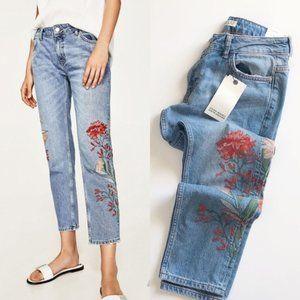 NWT ZARA Z1975 Embroidered Cigarette Jeans -34/2